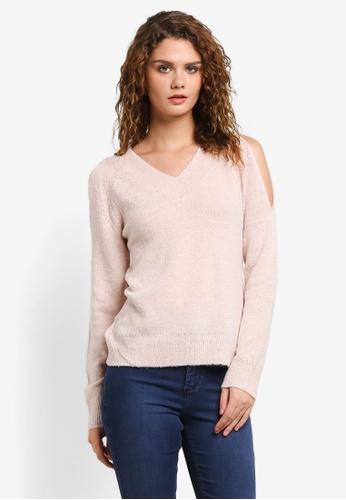 Dorothy Perkins pink Blush V Neck Cold Shoulder DO816AA0RMZBMY_1