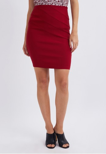 Blanik red Helen Pencil Mini Skirt 7A080AAB90E921GS_1