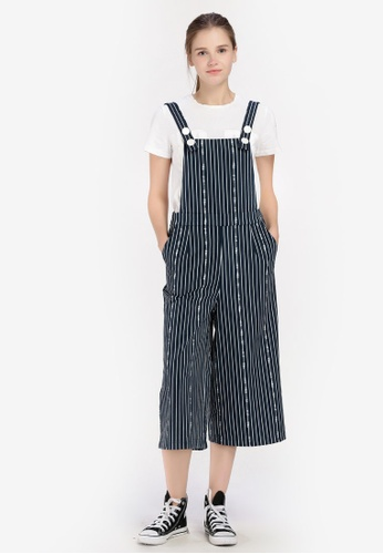 Hopeshow blue and navy Stripe Culotte Dungarees 892F5AAF3D8B25GS_1