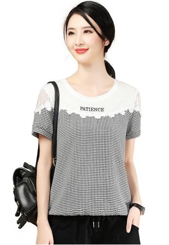 A-IN GIRLS 黑色 and 白色 時尚拼接格仔T恤 E5AE4AAF44F195GS_1