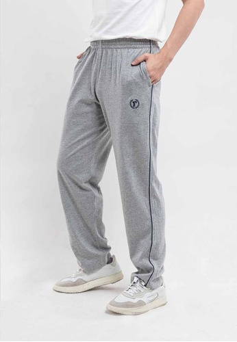FOREST Forest 100% Cotton Casual Track Pants - 10539-MelangeGrey A3BCBAA8D27083GS_1