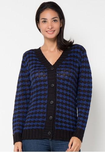 VOYANT BY MEGUMI blue Cardigan Button Stripe VO505AA99YJCID_1