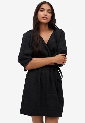 Mango black Puffed Sleeves Dress 8EF88AA60A583FGS_1