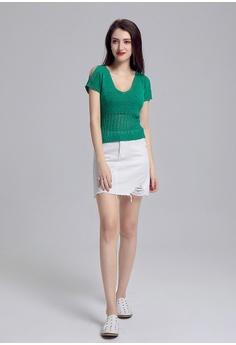 8d96d03c7 London Rag green Knitted V-Neck Top 18773AADB9447EGS_1