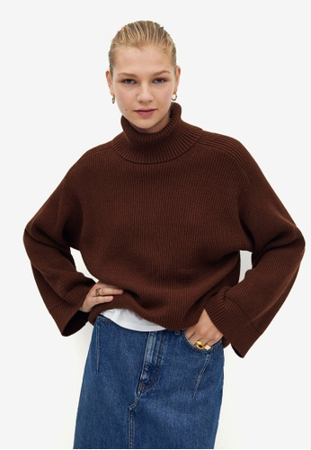 Mango brown Turtleneck Ribbed Sweater 3CD92AAC4FC823GS_1