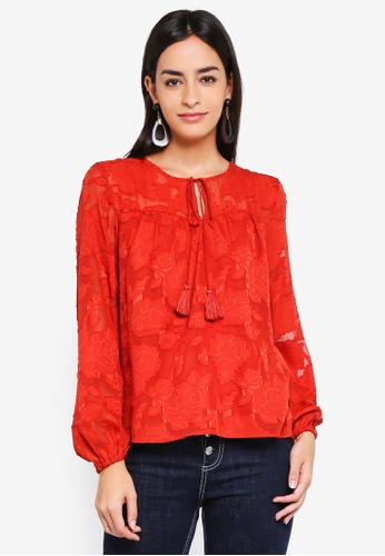 Vero Moda red Amy Long Sleeve Top 835FEAAB010F07GS_1