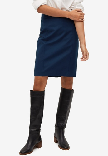 Mango blue Cotton Pencil Skirt 18425AA1F01EA6GS_1