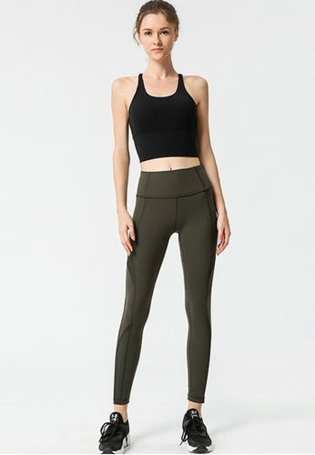 B-Code green ZYG3095-Lady Quick Drying Running Fitness Yoga Sports Bra and Leggings Two Pieces Set -Green 137D1US0B1ED1DGS_1