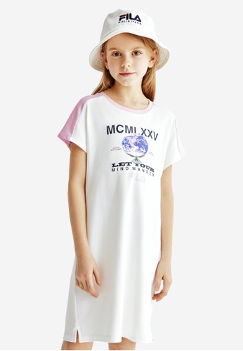 FILA white FILA KIDS Earth Print Cotton Dress 8-15yrs C53DBKA72CC52BGS_1
