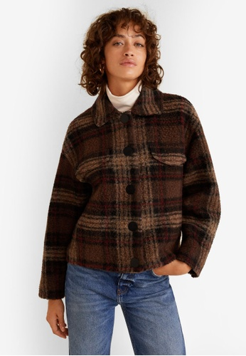 Mango brown Checkered Wool-blend Jacket FCA41AAC2D241DGS_1