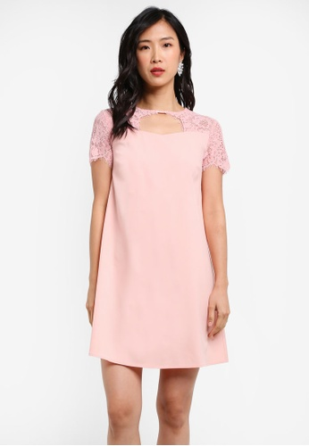 ZALORA pink Lace Yoke Swing Dress 5DB5EAA6F87BD8GS_1