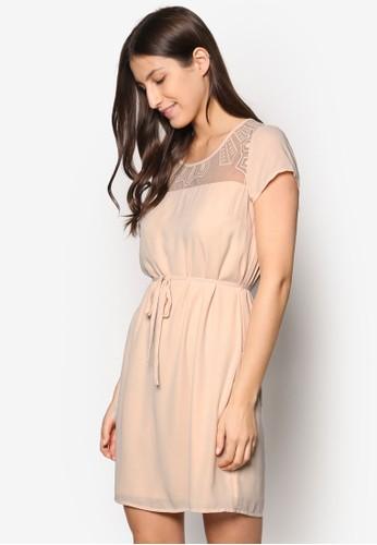 Virafnaesprit outlet 高雄 薄紗拼肩束腰洋裝, 服飾, 洋裝