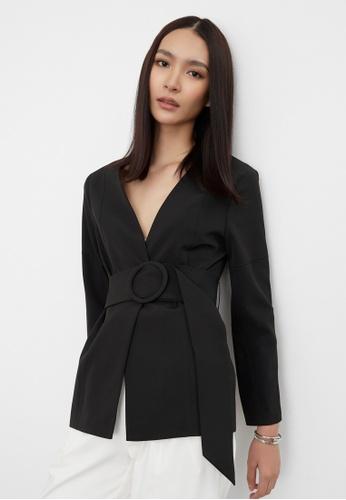 Pomelo black Belted Round Buckle Blazer - Black 2D575AA1673601GS_1