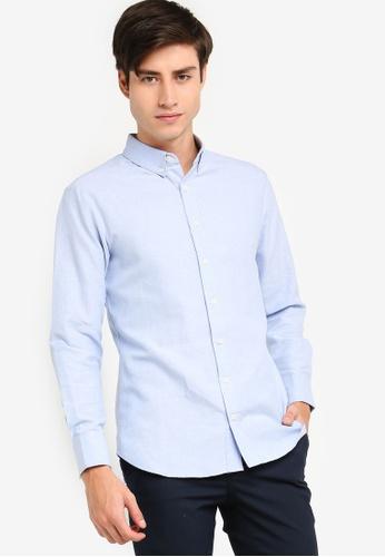 baba13340 ZALORA BASICS blue Basic Oxford Slim Fit Long Sleeves Shirt  70931AAC904105GS_1