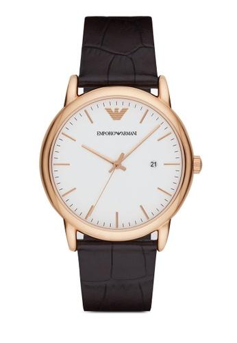 ARMANI brown ARMANI Dark Brown Leather Watch AR2502 AR024AC31NFKMY_1