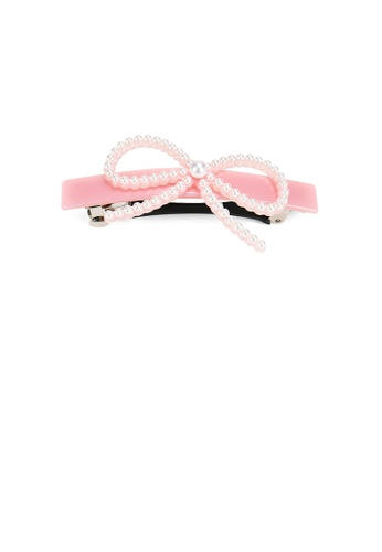 Glamorousky white Simple and Sweet Pink Ribbon Hair Slide with Imitation Pearls 093D7AC51E45ABGS_1