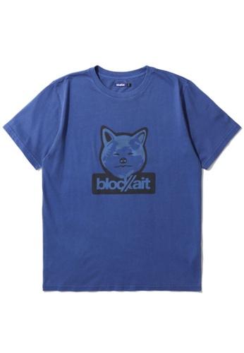 BLOCKAIT blue Akita Ken graphic tee D4B59AAC47E5D5GS_1
