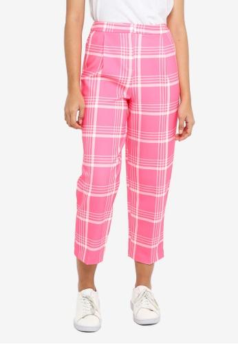 TOPSHOP pink Check Peg Trousers 8E9E1AA6B6139DGS_1