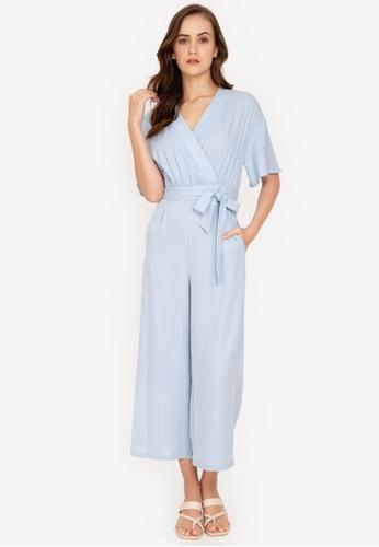 ZALORA WORK blue Kimono Sleeves Jumpsuit 2A6DFAAFC32481GS_1