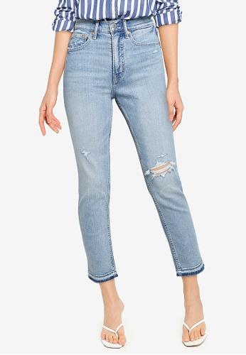 GAP blue High Rise Distressed Cigarette Jeans 3B3A9AA982E9C3GS_1
