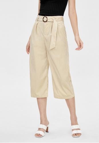 Pomelo beige Belted Wide Culotte Pants - Cream 8B811AA0C708C6GS_1