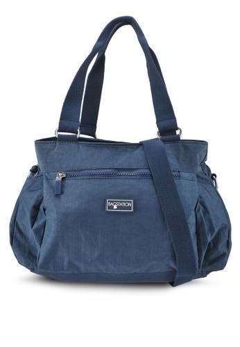 Bagstationz navy Crinkled Nylon Shoulder Bag 83B7BAC93A0DA8GS_1