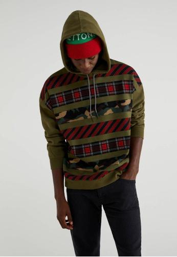 United Colors of Benetton 綠色 連帽設計內刷毛運動上衣 3A439AA0DC62ECGS_1