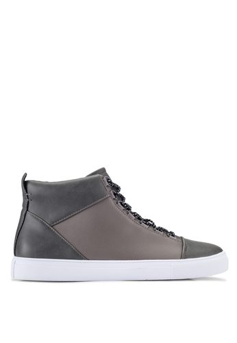 ZALORA grey Faux Leather High Top Sneakers 8F0DCSH4EDFBBDGS_1