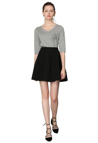 Hopeshow black High Waist Flare Mini Skirt 416B9AA82E6FF5GS_1