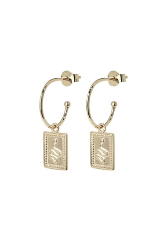 CLUSE gold Force Tropicale Gold Hoop Rectangular Tag Pendant Earrings AD11BAC3772CBAGS_1