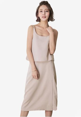 Kodz beige Sleeveless Top and Skirt Set 0ABF3AAAD50E90GS_1