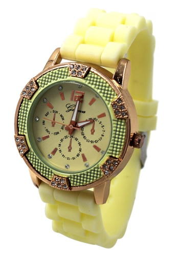 World of Watches yellow Geneva Angel Women's Silicon Strap Watch WO566AC23CBCPH_1