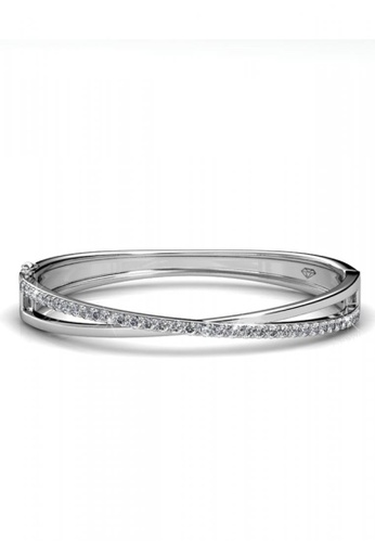 Her Jewellery silver Her Jewellery Criss Bangle with Premium Grade Crystals from Austria 1E400AC9CC5DCFGS_1