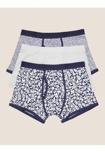MARKS & SPENCER blue M&S 3 Pack Cotton Cool & Fresh Trunks 97531USAB84CB1GS_1