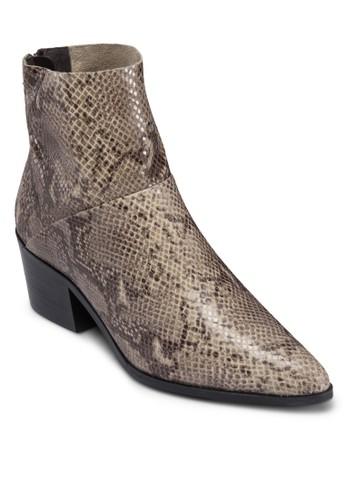 後拉鍊尖頭中跟皮靴, zalora時尚購物網評價女鞋, 鞋