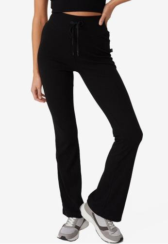 Cotton On Body black Lifestyle Rib Flare Pants A171DAAFD966E2GS_1