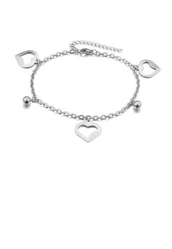 Glamorousky silver Simple and Romantic Heart-shaped Round Bead 316L Stainless Steel Anklet 76B1EACD3282D0GS_1