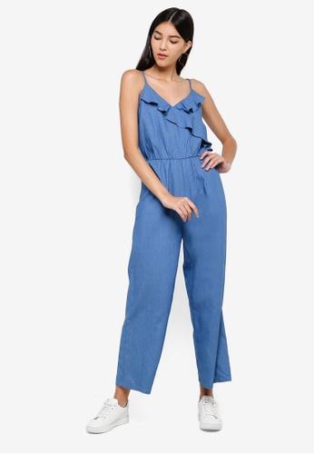 ZALORA blue Ruffles Jumpsuit B69C8AA19EDD46GS_1