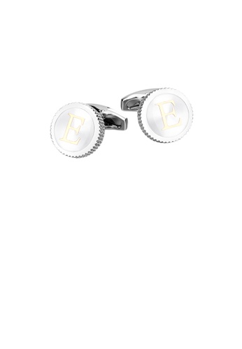 Glamorousky 銀色 時尚簡約英文字母E圓形袖扣 40B34AC359C5AFGS_1