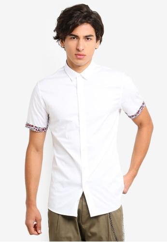 Topman white White Floral Turn Up Shirt 9B26CAA7F2364BGS_1