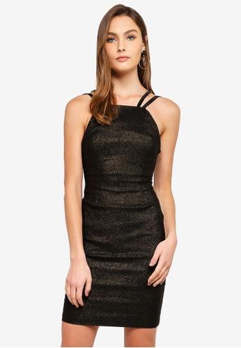 Vesper black Bridey Strap Detail Sparkle Dress 4F494AACD7CBC1GS_1
