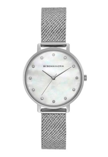BCBG silver BCBGMAXAZRIA BG50996001 Silver Stainless Steel Mesh Watch 09A88AC408D36EGS_1