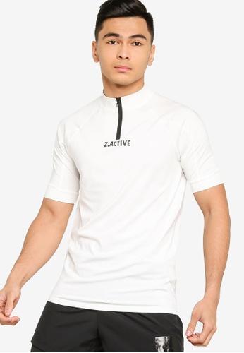 ZALORA ACTIVE white Active Zip Neck T-shirt 93436AAADDEF6FGS_1