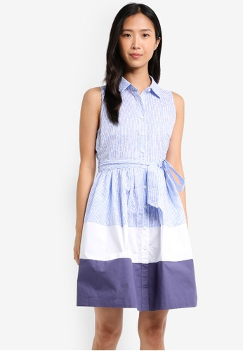 ZALORA blue Colour Block Shirtdress 27637AAD3302E3GS_1