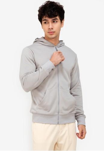 ZALORA BASICS grey Zipper Hoodie Jacket A49CCAA635F6E2GS_1