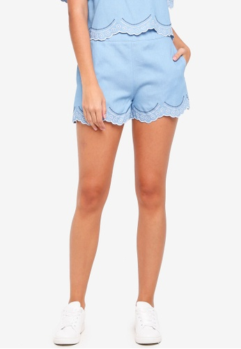 Something Borrowed blue Embroidered Scallop Shorts D11D6AA28ADE5FGS_1