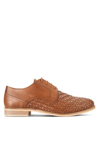 Topman brown Brown Leather Smart Shoes TO413SH15FTOMY_1