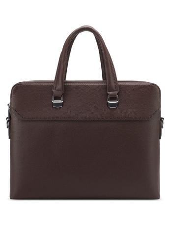 ZALORA brown Double Zip Briefcase A4BC0ZZ97B0AE9GS_1
