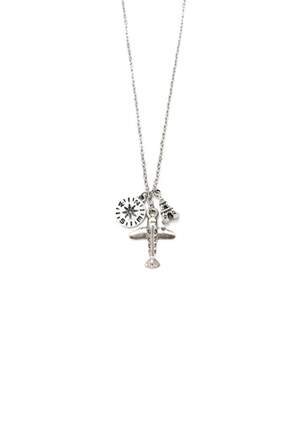 Trinkets for Keeps silver Compass and Airplane Necklace TR047AC0JJWAPH_1