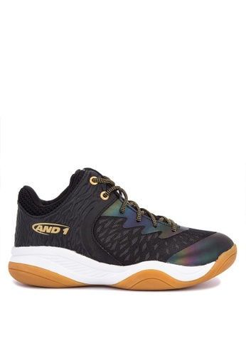And1 black and multi Attack Mid 25th Anniversary Edition Basketball Shoes 07056SH2763126GS_1
